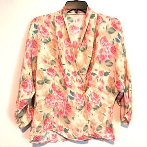 Vintage 80s Double Breasted Floral Shirt